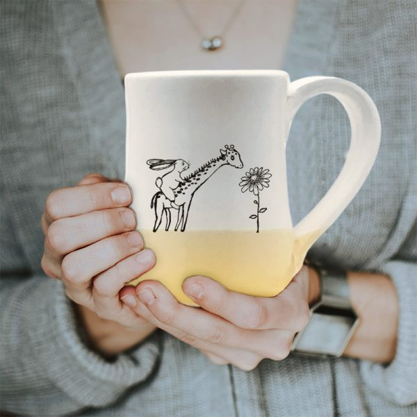 Large mug, handmade and illustrated by Darn Pottery hedgehogs, appears to have a rabbit riding a giraffe. Surely, this can't be happening. Gold accent color
