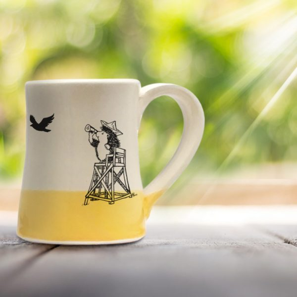The most important moment in all of American history is portrayed on this handmade mug: vigilant hedgehog at the beach looking for the British armada. Gold accent color.The most important moment in all of American history is portrayed on this handmade mug: vigilant hedgehog at the beach looking for the British armada. Gold accent color.
