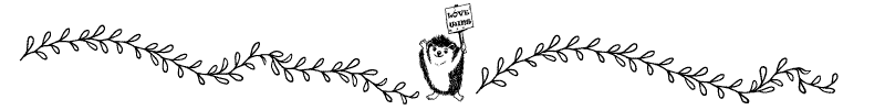 Section divider doodle of hedgehog holding sign announcing that love wins