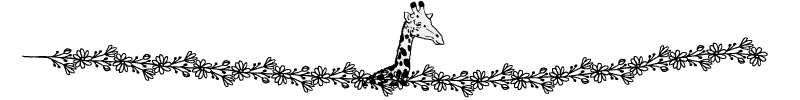 Section divider doodle of giraffe looking over a hedge