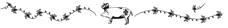 Section divider doodle of a fancy French pig wearing a crown