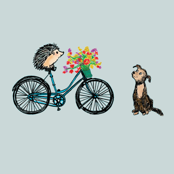 original drawing of a hedgehog on a bike delivering flowers to a dog