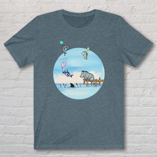 Graphic T-shirt with an original drawing of a hippo watching baby sharks float by on balloons