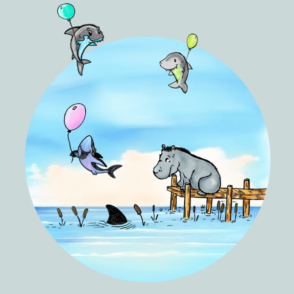 Original drawing of a hippo watching baby sharks float by on balloons