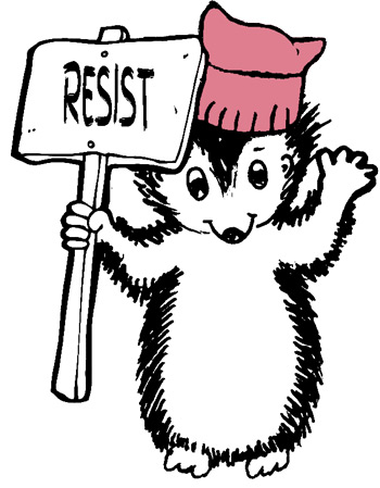 "Pen illustration of a hedgehog wearing a ""pink pussy"" protest hat and holding a sign reading Resist"