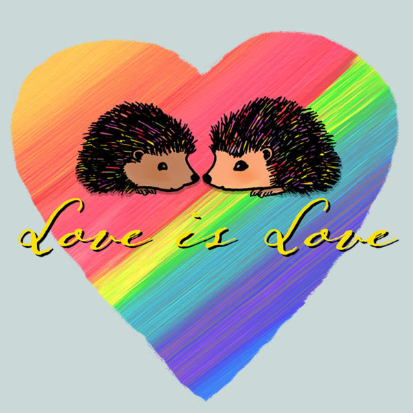 Original Darn Pottery artwork of two hedgehogs on a rainbow heart background with the text Love is Love