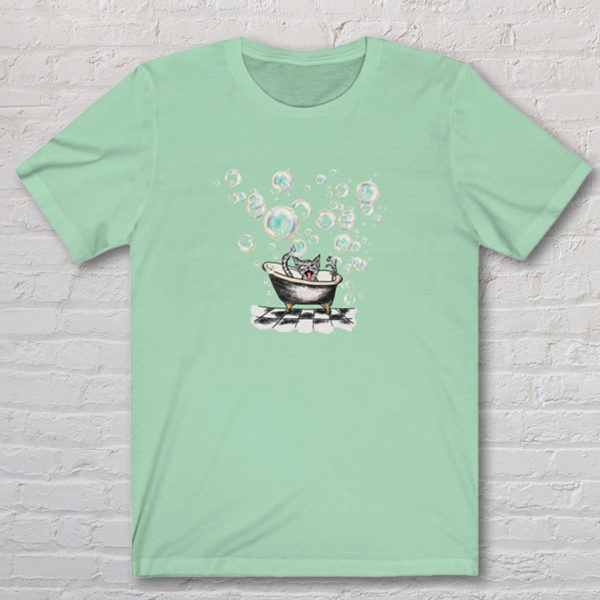 Tshirt with drawing of cat in vintage bathtub. The Original WAP
