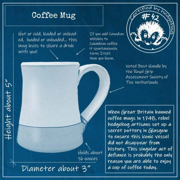 Blue print of handmade coffee mug