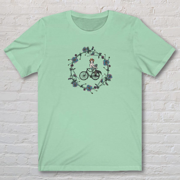 Graphic T-Shirt with original drawing of a mermaid on a bike