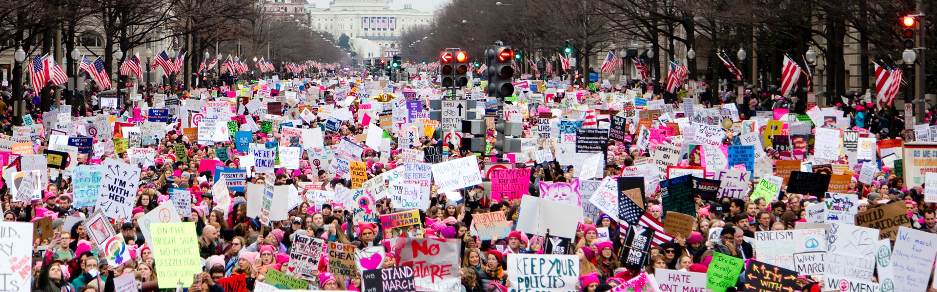 Image of the Women's March in Washington DC during spring 2017