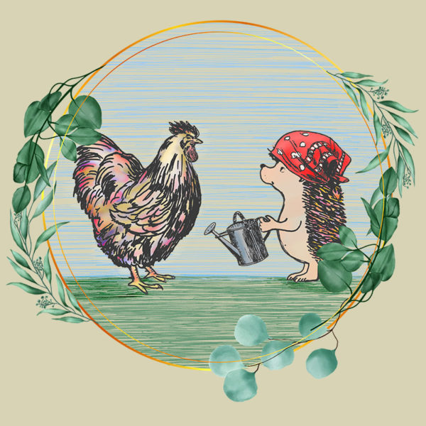 original drawing of a rooster and hedgehog in the garden