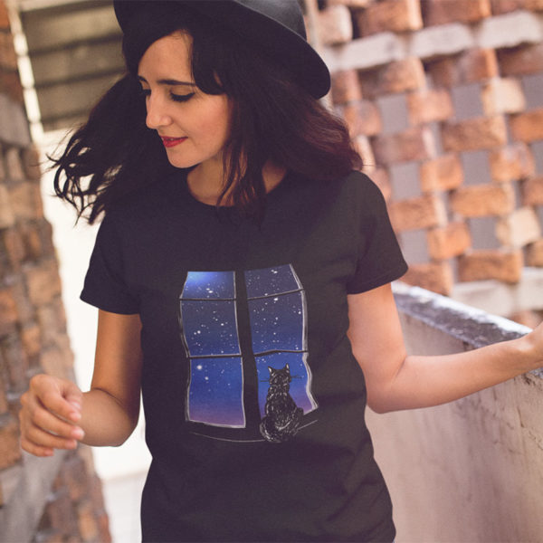 Photograph of woman wearing original graphic tshirt with cat