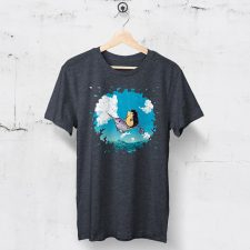 Heather navy tshirt with original Darn Pottery illustration of hedgehog riding a narwhal