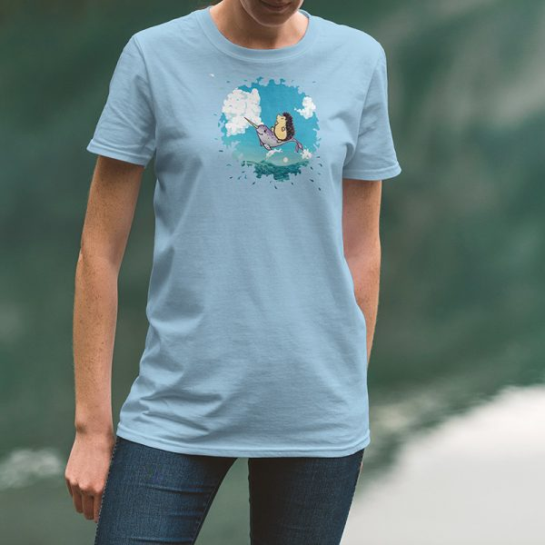 Light blue tshirt with original Darn Pottery illustration of hedgehog riding a narwhal
