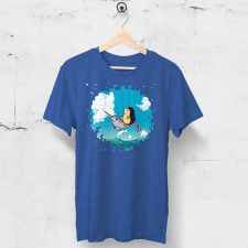 Royal blue tshirt with original Darn Pottery illustration of hedgehog riding a narwhal