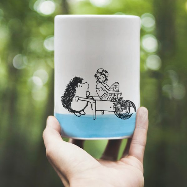 A classic Darn Pottery tumbler celebrating that time when Darnit went fishing and got caught up with a sophisticated Swedish mermaid instead. Blue accent color