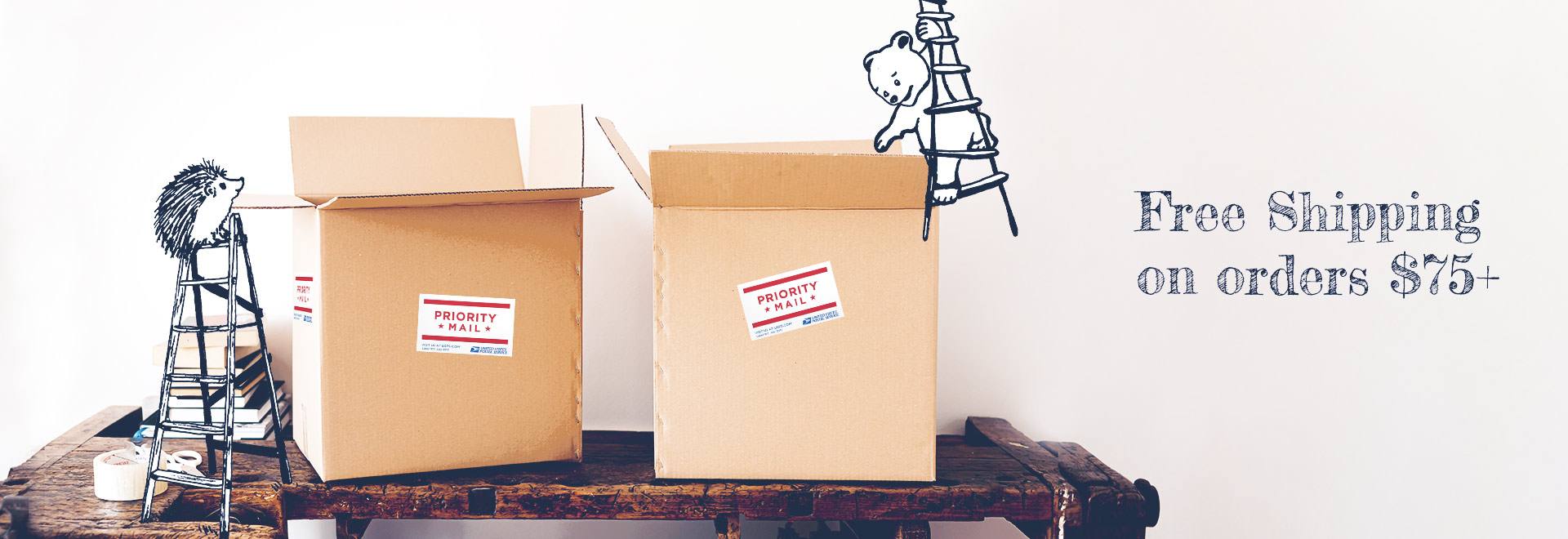 hedgehogs on ladders packing shipping boxes