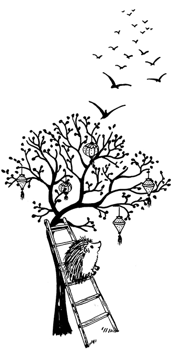 Darn Pottery hedgehog on a ladder under an apple tree