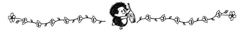 Divider doodle of hedgehog with champagne