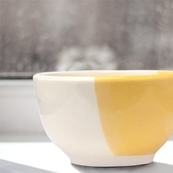 Unlikely best friends, chicken and fox are the featured drawing on this perfect soup bowl that was handmade and illustrated by the hedgehogs of Darn Pottery. Gold accent color.