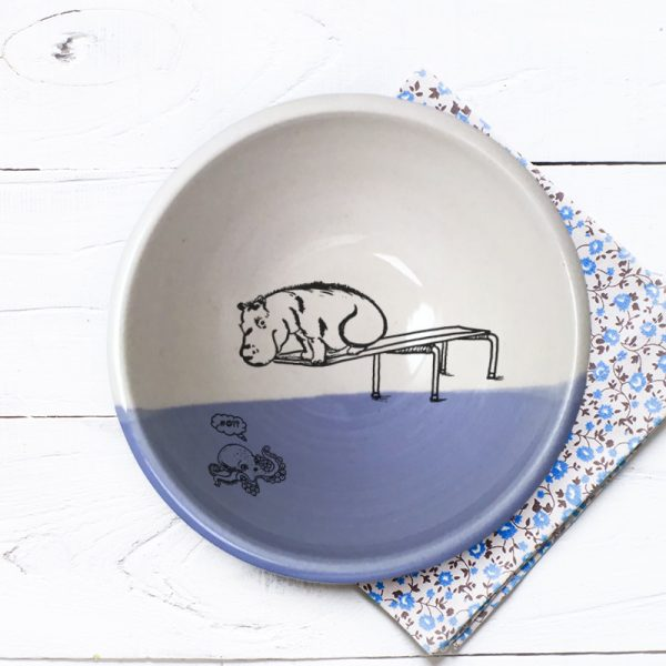 A hippo on a diving board. A little kracken understandably nervous beneath him. These emotions and more are indelibly captured on this handmade ceramic bowl. Lavender accent color