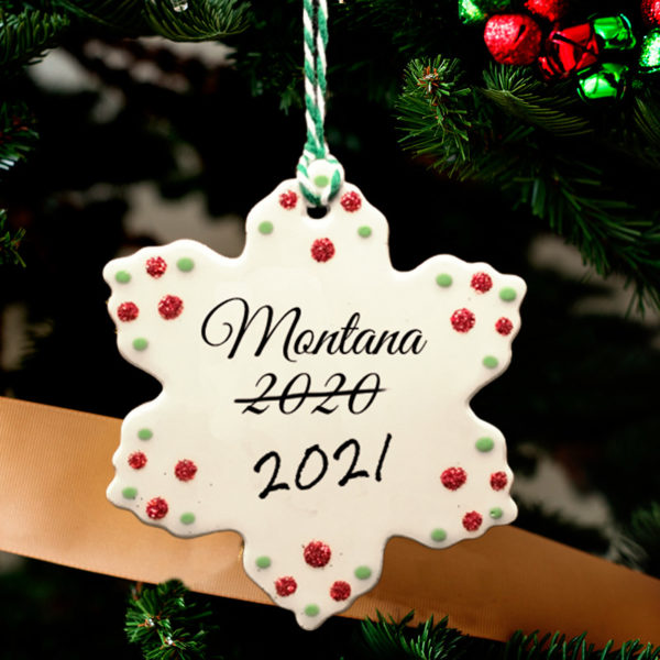 Handmade Darn Pottery ornament with custom lettering