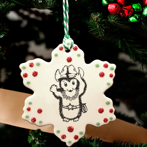Handmade Darn Pottery ornament with drawing of a cowboy hedgehog