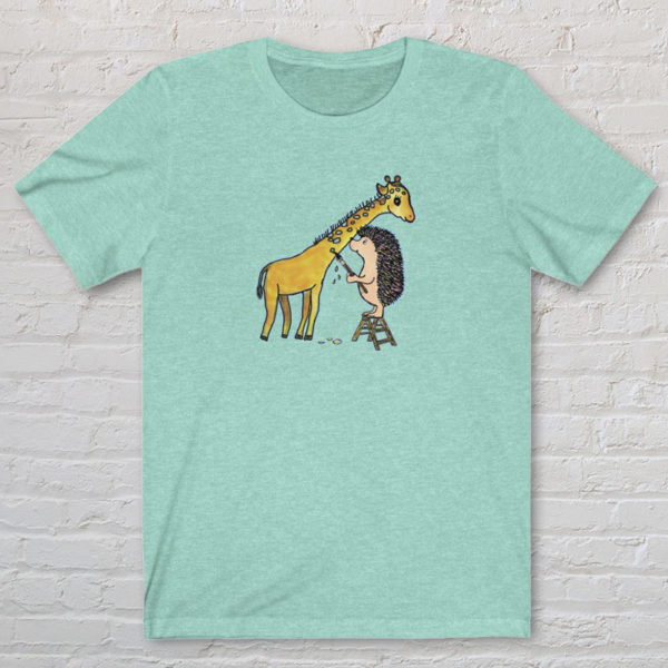 Graphic Tshirt illustrated with original Darn Pottery artwork of hedgehog painting spots on a giraffe