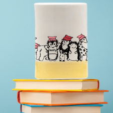 Handmade tumbler with resistance hedgehog. Vote. Dissent. Resist. Gold accent color.