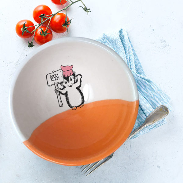 Handmade ceramic soup bowl with a drawing of a hedgehog holding a Resist protest sign. Coral accent color.